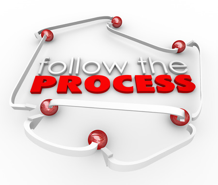 instructions: Follow the Process arrows connecting balls symbolizing steps or instructions in a procedure or system to complete a job or task Stock Photo