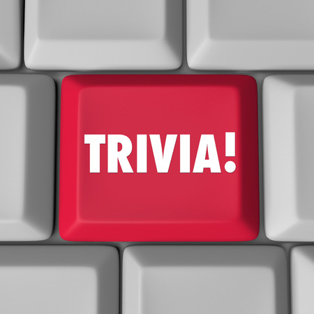 trivia: Trivia word on a red computer key or button to encourage you to play a fun pop culture knowledge game online on an internet website