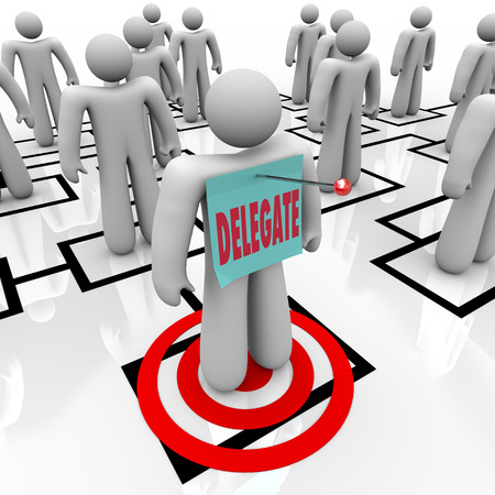 delegate: Delegate word on a note pinned to a worker or employee targeted on an org chart to symbolize work being passed down to people or subordinates below you in the chain of command