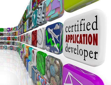 tout: Certified Application Developer on an app tile in a wall of application and programs to tout your skills as a computer programmer or software engineer Stock Photo