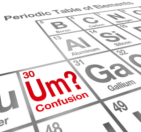 misunderstanding: Um the Element of Confusion words on a periodic table to illustrate a difficult lesson, misunderstanding or miscommunication Stock Photo