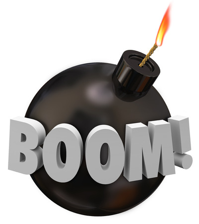 Boom word on a round black bomb with wick and flame warning you of danger in the impending explosion