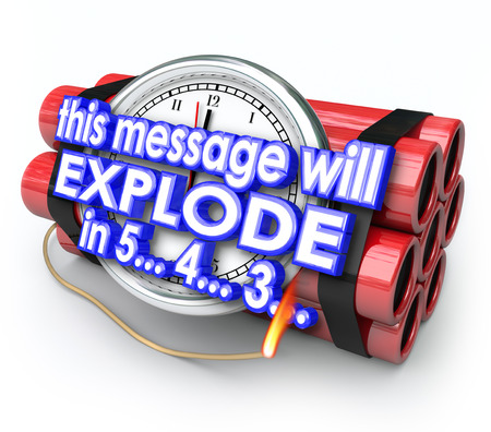 This Message Will Explode in 5 seconds words on a time bomb as a limited offer or exclusive information in a countdown or deadline warning Stock Photo