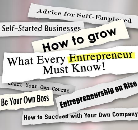どのようなすべての起業家する必要があります知っていると他の新聞の見出しについての重要なヒント、アドバイスや、会社の実行方法についての 写真素材