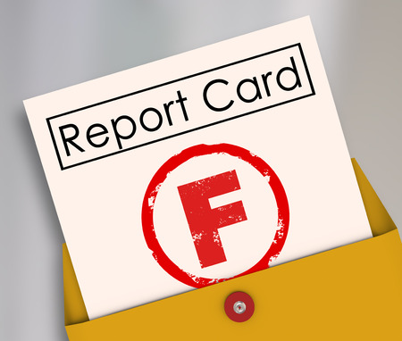 fail: Letter F grade on a report card rating a terrible, bad, poor preformance in school, a class, job or other scored activity