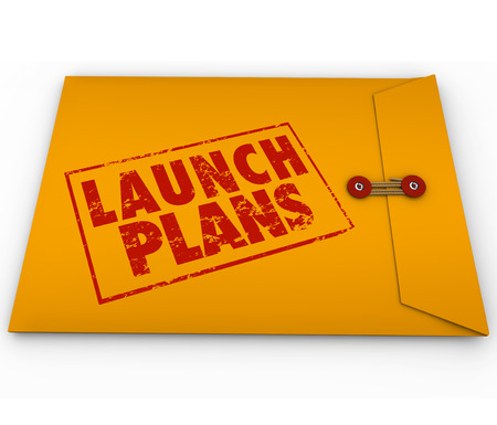 launch: Launch Plans words stamped in red ink on yellow envelope offering advice, information, steps and information on starting your new compnay or business or beginning a project or endeavor