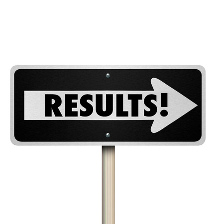 outcome: Results word on a one way road sign arrow pointing to outcome, answers, responses or final verdict or end product or decision for your hard work and efforts