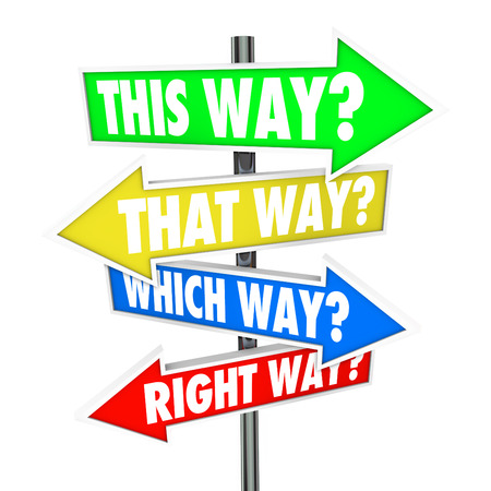 that: This Way, That Way, Which Way, Right Way? words in a question on arrow road signs showing many choices for opportunity for moving forward and making a decision Stock Photo
