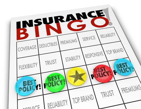 price uncertainty: Insurance Bingo words on a game card with pieces on the word Best Policy and other squares reading coverage, co-pay, deductible, premium, top brand and more Stock Photo
