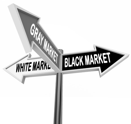 Black, Gray and White Market words on three arrow road or street signs to show the different legal and illegal market economy sectors Banco de Imagens