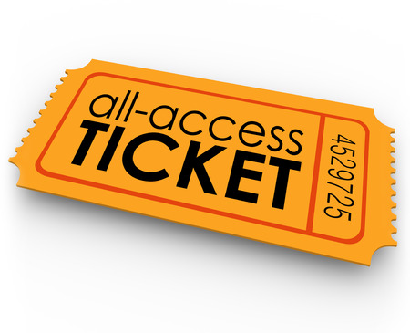 All Access Ticket words on an orange pass giving you special, exclusive, unlimited admission to rides at an amusement park or carnival, or seating at a movie, concert, play or other show or event