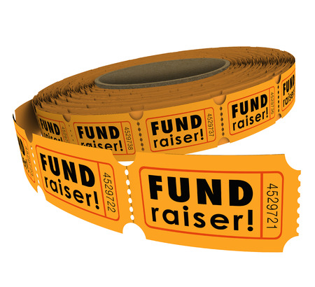 Fund Raiser words on a roll of fifty-fifty or 50-50 raffle tickets as a charity event raising money for a worthy cause Stock Photo