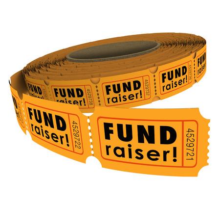 Mots levée de fonds sur un rouleau de cinquante-cinquante ou 50-50 billets de tombola comme un événement de charité recueillent de l'argent pour une bonne cause Banque d'images - 29986284