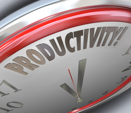 industrious: Productivity word on a clock to increase efficiency of output and get more done in less time, being more productive in the hours and minutes you have to work