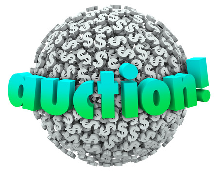 Auction word on a ball or sphere of dollar signs or symbols as a winning bidder buys an object or item in an organized selling event or marketplace