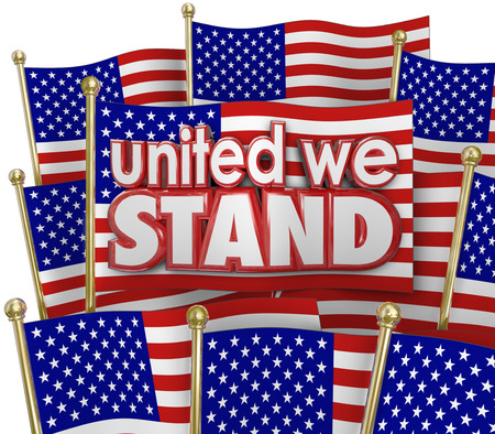 pledge: United We Stand words of solidarity and unity on American or USA flags waving in patriotic pride as a symbol of sticking together through thick and thin Stock Photo