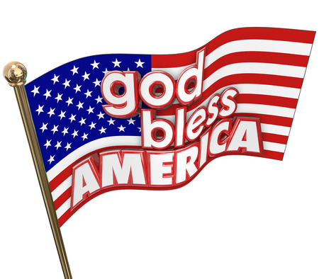 unites: God Bless America words on an American or Unites States flag with the words in 3d letters on the stars and stripes