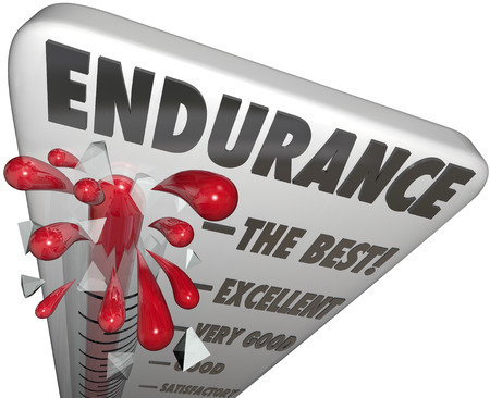 endure: Endurance word on a thermometer or barometer measuring your level of stamina or power to survive or endure a challenge or trial of will and fortitude Stock Photo