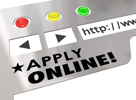 Apply Online words on a website or internet browser window to show how to fill out an application form for a job interview or mortgage loan financing