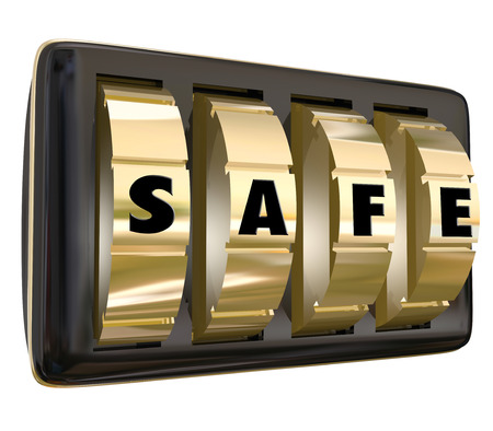 secure: Safe word on gold dials of a lock to keep your information, documents or valuables protected and secure from theft or unauthorized viewing