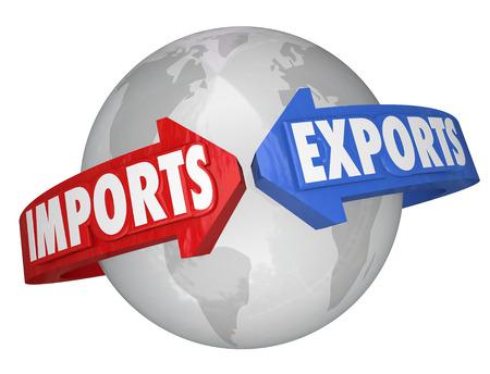輸入と輸出言葉国際ビジネス、貿易、グローバル企業を説明するために地球の周りの矢印