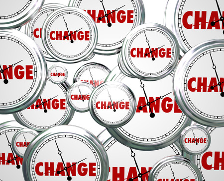 Change word on clocks passing by as evolution and innovation march on to alter, update or improve your life, job or career photo