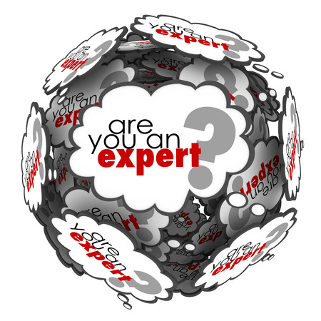 specialize: Are You an Expert question in thought clouds asking if you have expertise, skills and knowledge to perform a job or task Stock Photo