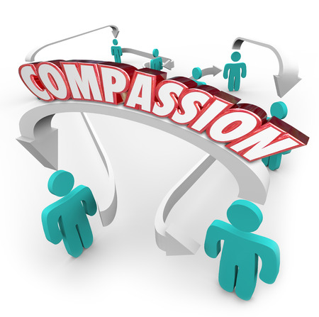 helping others: Compassion word on arrows connecting people to show sympathy, empathy and helpful feelings toward each other Stock Photo