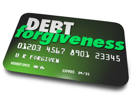 Debt Forgiveness words on a plastic credit card as you negotiate repayment or removal of debt from your account or balance since you don't have money to pay bills Stock Photo - 30026190
