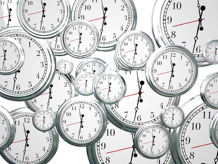 seconds: Many clocks ticking and counting down the seconds, minutes and hours as time marches on and moves forward