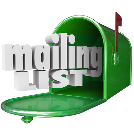 Mailing List words in 3d letters and a mailbox for direct marketing or advertising your company or business, products or services photo