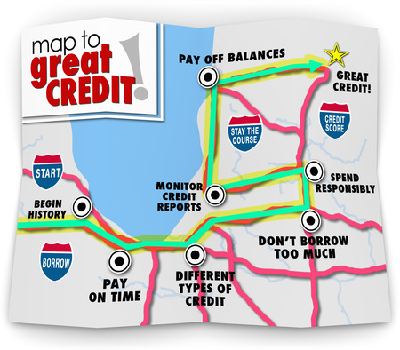Map to Great Credit words on a road map as directions to improving your score or rating so you can obtain money or funding for a purchase, loan or mortgage