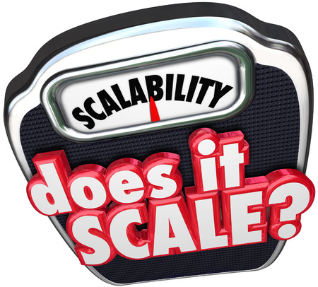 spread the word: Scalability 3d word and Does It Scale question asking if your business model can increase and size up to serve more customers and accounts Stock Photo