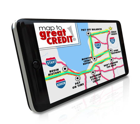 Map to Great Credit words on a smart phone nagivation app road map as directions to improving your score or rating so you can apply for a loan or mortgage