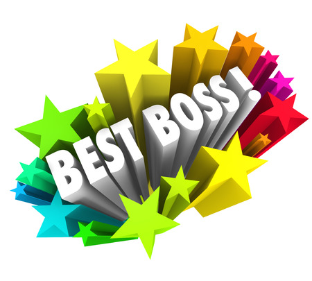 recognize: Best Boss words surrounded by colorful fireworks or stars to recognize the top leader, manager, employer, executive or supervisor in a workplace,  business or company