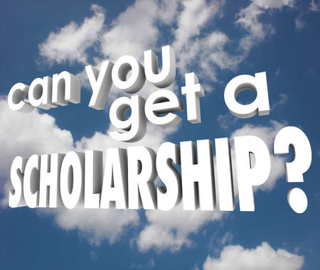 awarding: Can You Get a Scholarship words in white 3d letters on a blue cloudy sky asking if you will find financial aid or support for college or higher education