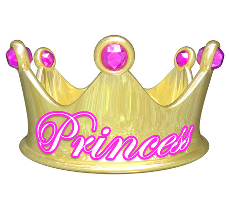 privileged: Gold crown with word Princess in pink letters for a girl or woman who is royalty, privileged, in line to rule, or just spoiled