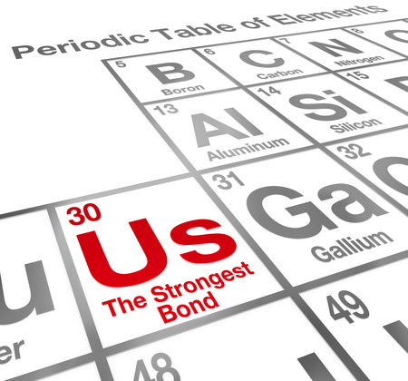 camaraderie: Us the Strongest Bond words on a periodic table of elements describing the importance of partnership, teamwork and unity