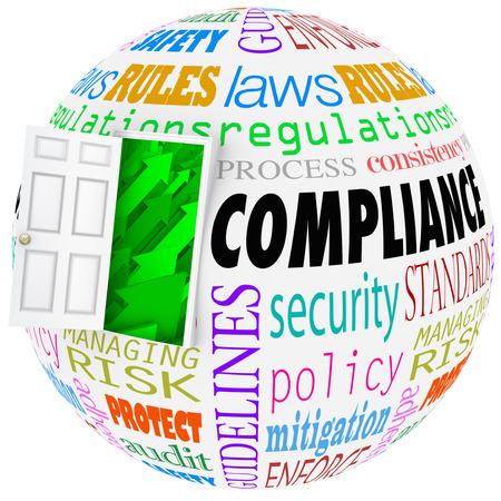 Conformité mots Sphère en respectant les règlements Règles stanards lois Banque d'images - 30365742