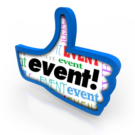 Event word in a blue thumbs up giving a recommendation to a special party, show or celebration as feedback or a review Imagens