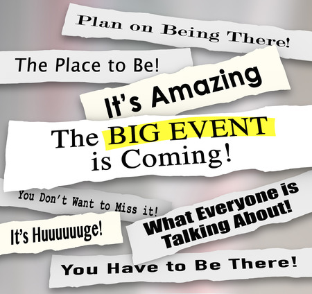 periódicos: Gran Evento que viene, y otros titulares de los periódicos y los anuncios que comparten el mensaje de un partido especial, reunión, presentación, celebración o reunión