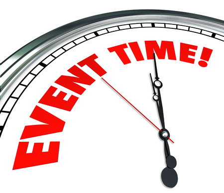 reminding: Event Time words on a clock face reminding you the meeting, show, performance or movie stars now Stock Photo