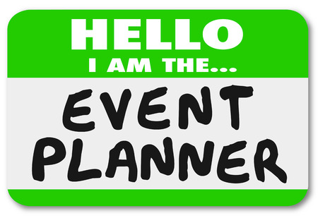 Hello I am the Event Planner words on a green name tag sticker for a meeting or special introduction Zdjęcie Seryjne