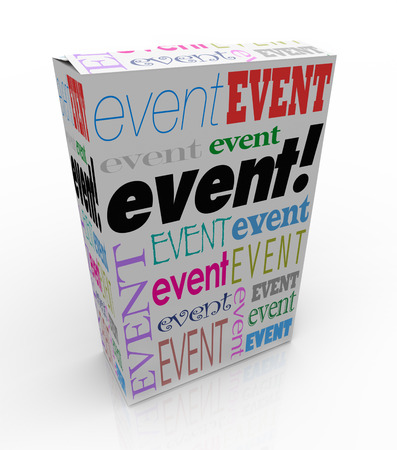 event marketing: Event word on a product package or box advertising or marketing a special performance, show or meeting