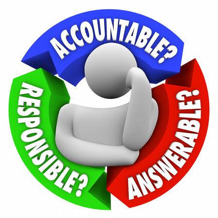 persona pensando: Palabras responsable y deber� rendir cuentas en torno a una persona que piensa que es para merecer cr�dito o digno de culpa Foto de archivo