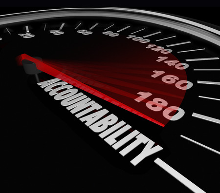 accountability: Accountability word on a speedometer finding person responsible for problem, trouble, issue or vehicle recall