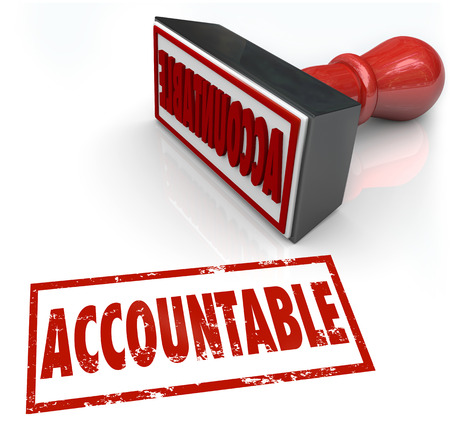 company ownership: Accountable Stamp in red ink assigning credit or blame to the person or people responsible for a job, task or project gone right or wrong Stock Photo