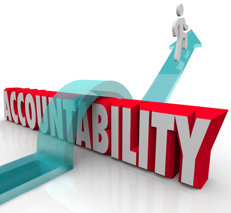 culpable: Person jumping over the word Accountability as a worker or someone avoiding or running from responsibility