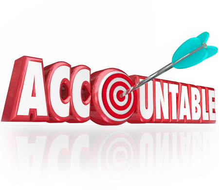 culpable: Accountable word in red 3d letters and an arrow hitting a bullseye as someone responsible for a job being done right with no errors