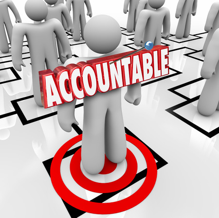 responsibilities: Accountable word in 3d letters pinned onto a worker standing on an org chart as placing the blame or making someone a scapegoat for a problem